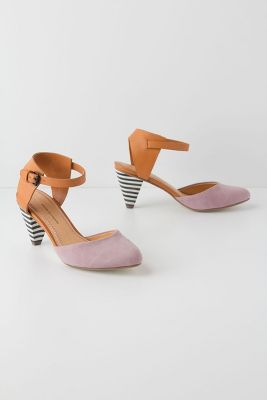 striped heel shoes